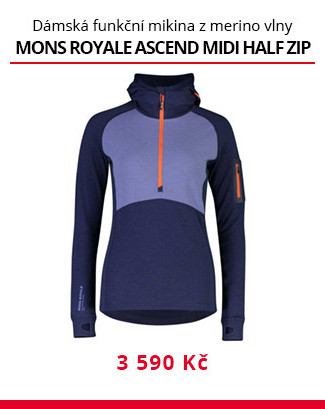 Mikina Mons Royale Ascend midi half zip