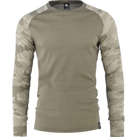 Pánské triko - Bula CAMO MERINO WOOL CREW - 1